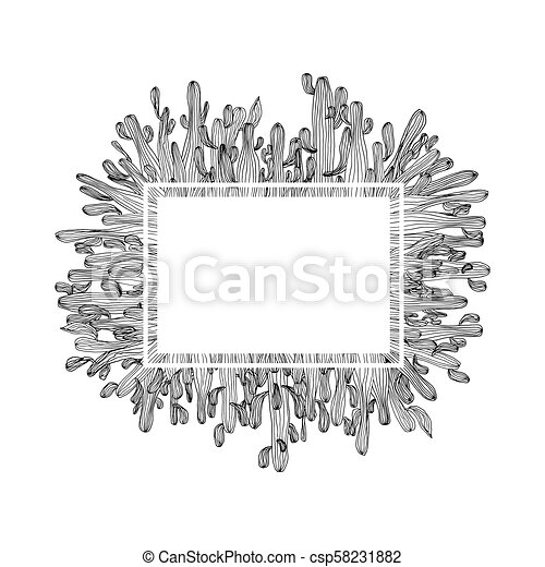Vector cactus card design. Illustration of white frame with saguaro cactus on background. Cactus coloring page book anti stress for adult - csp58231882