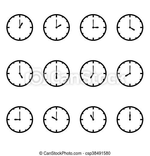 vector, cada, reloj, hora, exposición - csp38491580