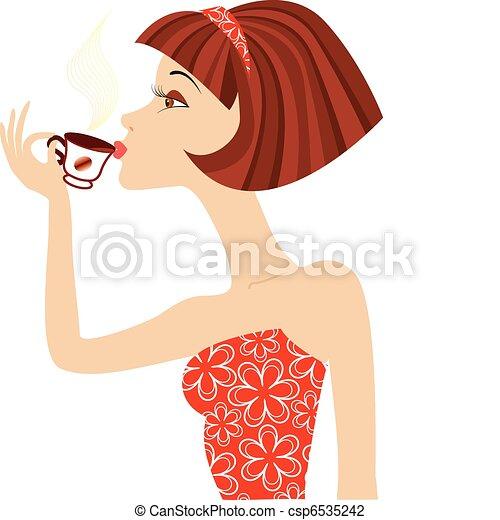 La mujer vector bebe café - csp6535242