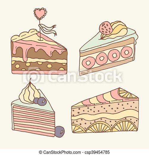 Vector cake illustration. Set of 4 hand drawn cakes. - csp39454785