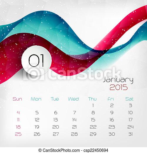 vector, calendar., 2015, january., illustratie - csp22450694