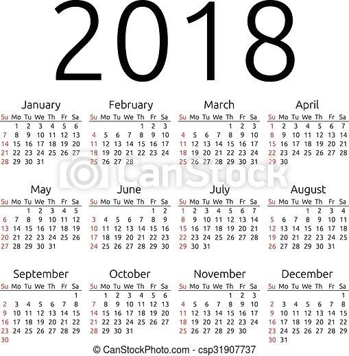 Vector calendar 2018, Sunday - csp31907737