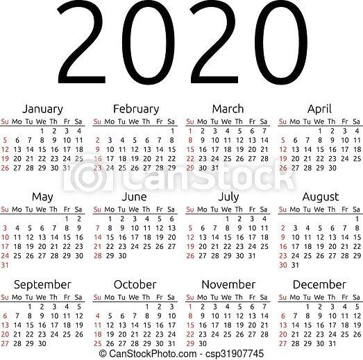 Calendar Year 2020.Vector Calendar 2020 Sunday