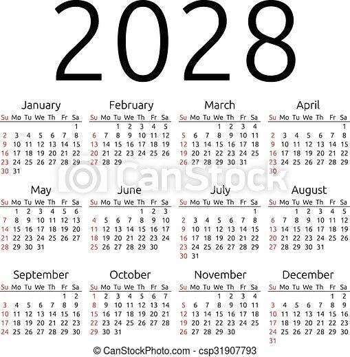 Vector Calendar 2028, Sunday