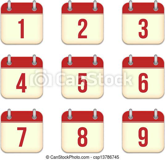 Calendar Days Icon.Vector Calendar App Icons 1 To 9 Days