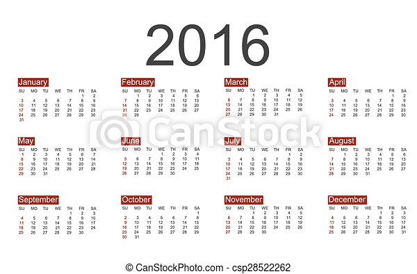 Vector calendar for 2016 year - csp28522262