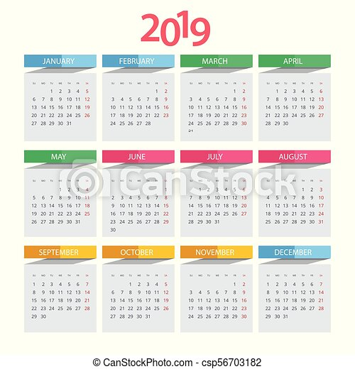 Calendar Pages To Print 2019.Vector Calendar For 2019 Year Vector Design Print Template With Place For Photo Set Of 12 Calendar Pages Stationery Design