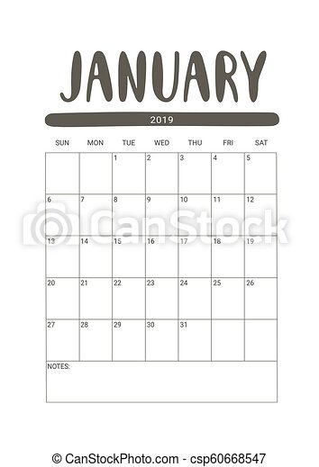 Year 2019 January Planner - A Monthly Planner Calendar For January..  Royalty Free Cliparts, Vectors, And Stock Illustration. Image 107915489.