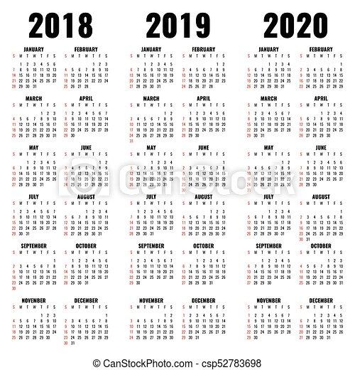 vector calendar template 2018 2019 and 2020 years calendar of year