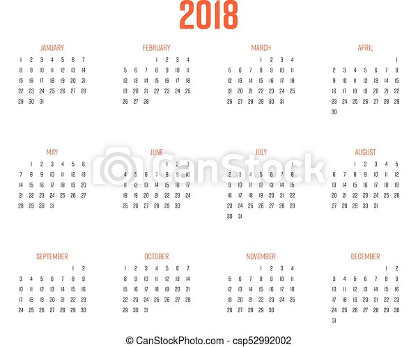 vector calendar year 2018 week starts from sunday simple flat