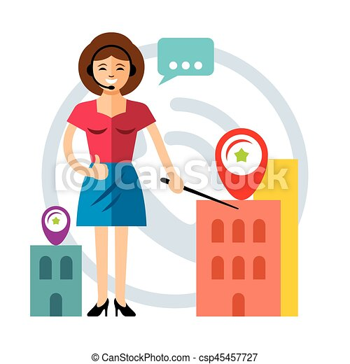 Vector Call Center Concept. Flat style colorful Cartoon illustration. - csp45457727