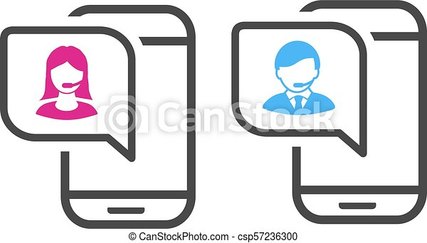 Vector call icon  Pink and blue contact icon with symbol of avatar in the  mobile  Support and consulting concept  Symbols for mobile apps and service