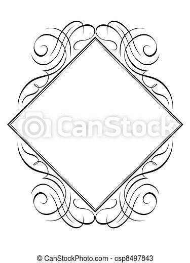 Vector calligraphy frame rhomb diamond pattern - csp8497843