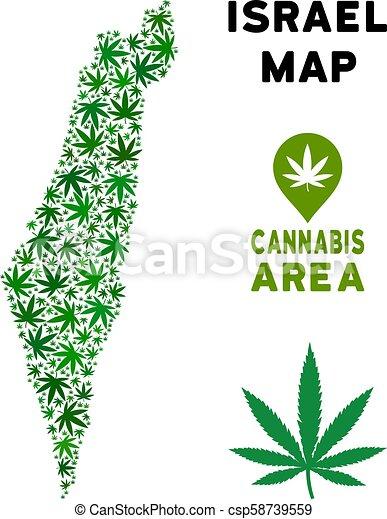 Vector Cannabis Composition Israel Map