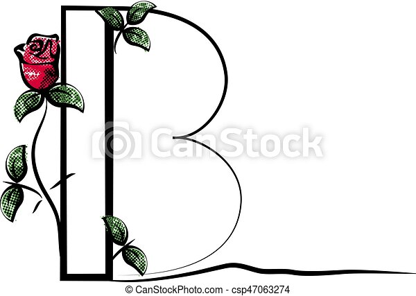a82733dda0a8 Vector Capital Initial Letter B With Red Rose. Decorative Font With Flower  And Green Leaves For