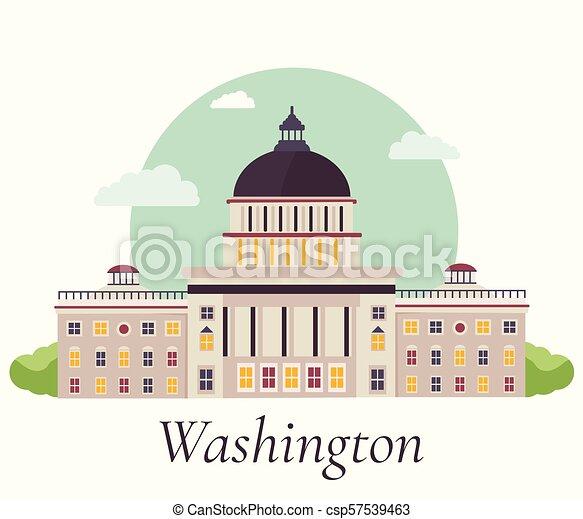 Ilustración de vectores de capital en Washington. - csp57539463