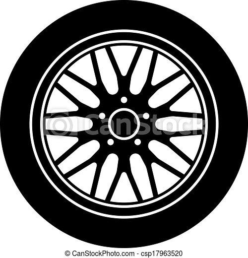vector car aluminum wheel black white symbol - csp17963520