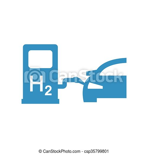 Vector Car Hydrogen Station Icon Fuel Cell Car
