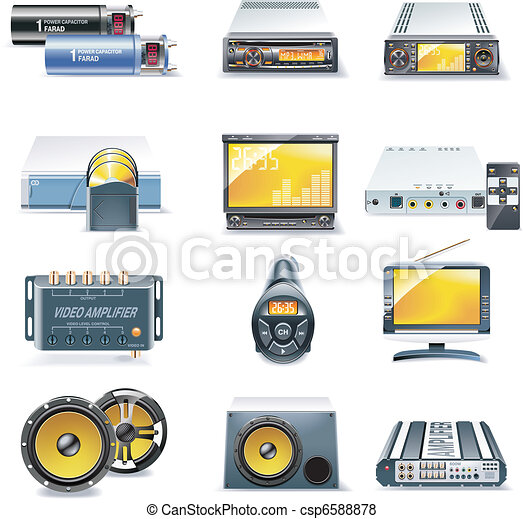 Vector car stereo systems icons - csp6588878