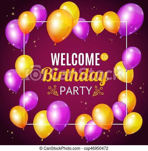 Tarjeta De Invitación De Cumpleaños Vector Bienvenidos A