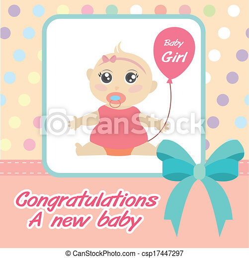 vector card new born baby girl