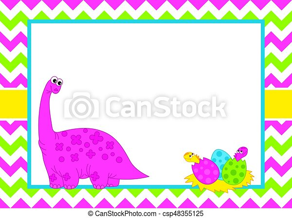 vector card template with a cute cartoon dinosaur on chevron