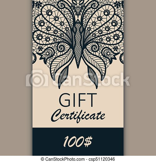Vector Card Template With Lace Ornament Gift Certificate Design