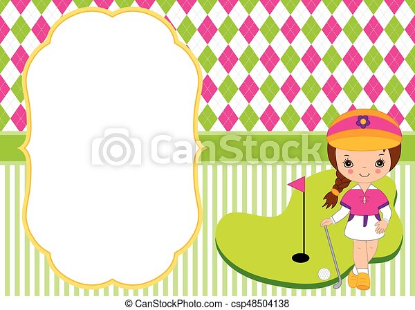 vector card template with little girl playing golf argyle background golf vector illustration