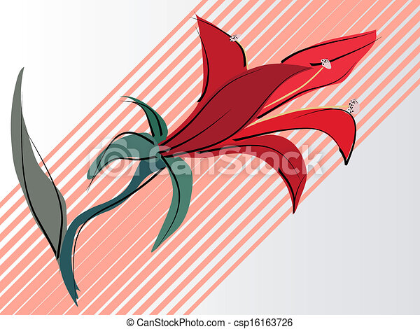 Vector card with red lilies. - csp16163726