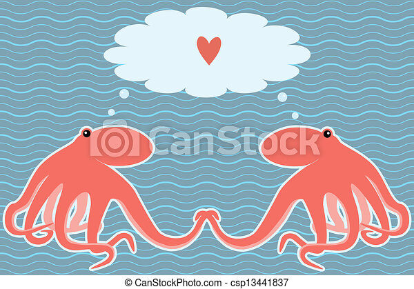 Vector card with two octopuses - csp13441837