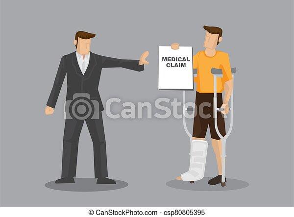 vector, caricatura, denies, ilustración, paciente, insurer, reclamo, lesión, pierna, médico - csp80805395