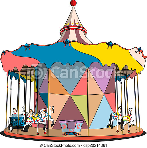 vector carousel with horses and machines vector children s clip rh canstockphoto com carousel clipart black and white carousel clipart