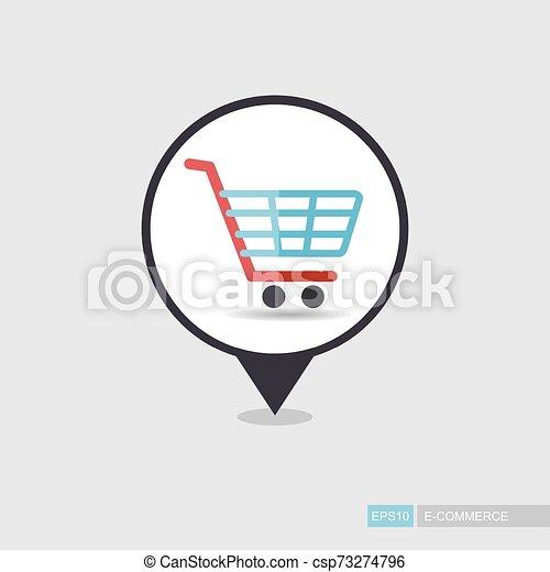Comprando carro de centro comercial aislado vector pin icono mapa - csp73274796