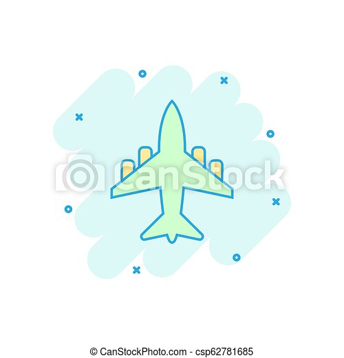Vector cartoon airplane icon in comic style. Airport plane sign illustration pictogram. Airplane business splash effect concept. - csp62781685