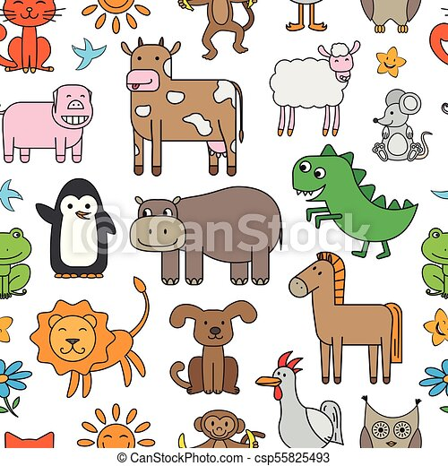 Vector Cartoon Animals Pattern - csp55825493