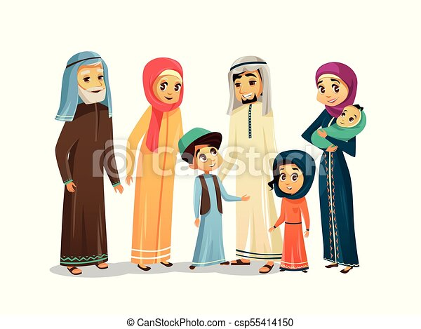vector cartoon arab family characters set vector cartoon