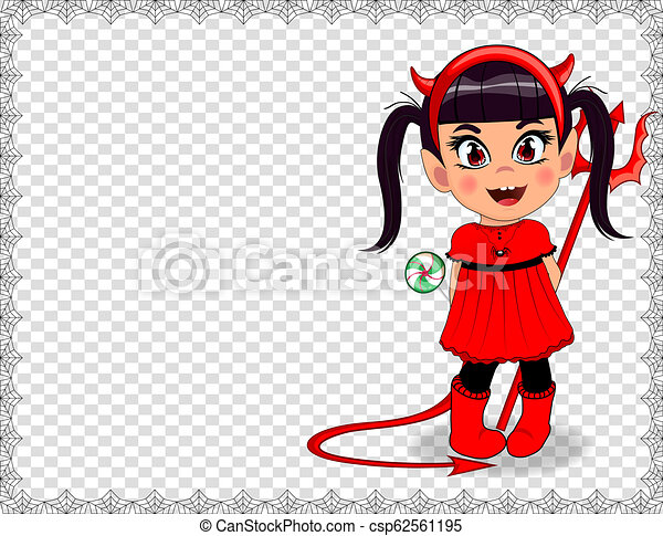 vector cartoon baby girl in red devil imp costume framed with