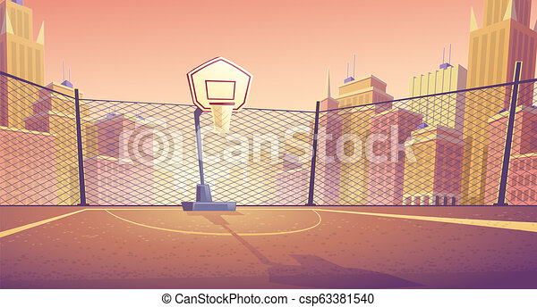 Vector Cartoon Background Of Street Basketball Court Vector Cartoon Background Of Basketball Court In City Outdoor Sports Canstock