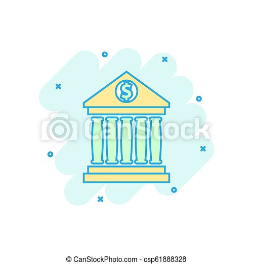 Vector cartoon bank building with dollar sign icon in comic style  Bank  sign illustration pictogram  Building business splash effect concept