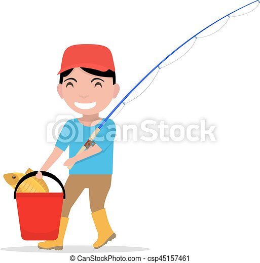 vector cartoon boy going fishing rod bucket fish vector clip art rh canstockphoto ca fishing rod clipart png fishing rod clipart free