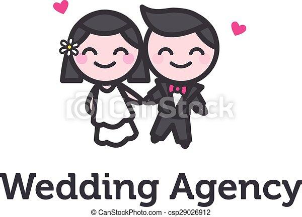 Vector cartoon bride and fiance logotype for wedding agency - csp29026912