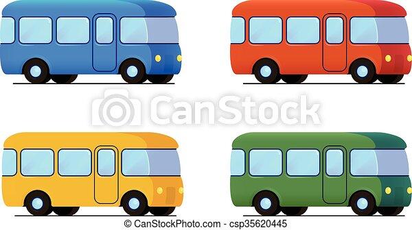 Vector Cartoon Bus Icon Set Color Car