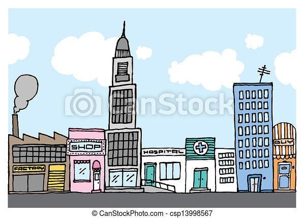 Vector cartoon city / Color Neighborhood - csp13998567