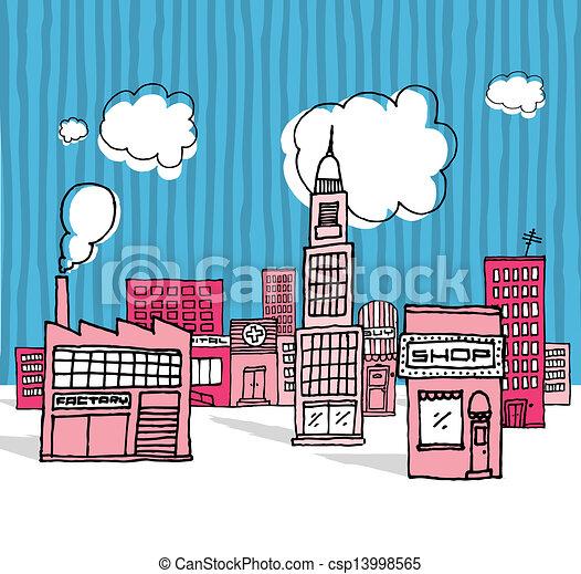 Vector cartoon city / Neighborhood - csp13998565