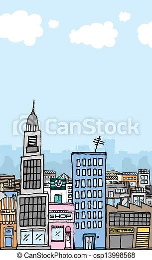 Vector cartoon city with copyspace - csp13998568