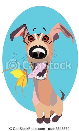 vector cartoon clip art illustration of a cute and happy vectors rh canstockphoto ca happy new year dog clipart happy new year dog clipart