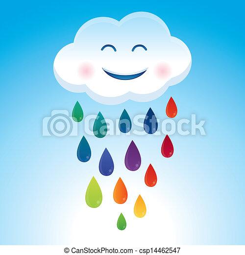 Vector cartoon cloud and rainbow drops - csp14462547