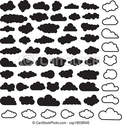 vector cartoon collection of sky clouds - csp19538545