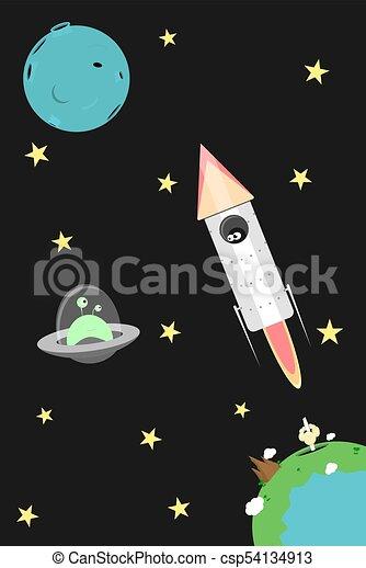 Vector cartoon cosmos illustration - csp54134913