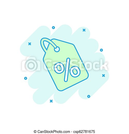 Vector cartoon discount shopping tag icon in comic style. Discount percent coupon concept illustration pictogram. Shop badge splash effect concept. - csp62781675